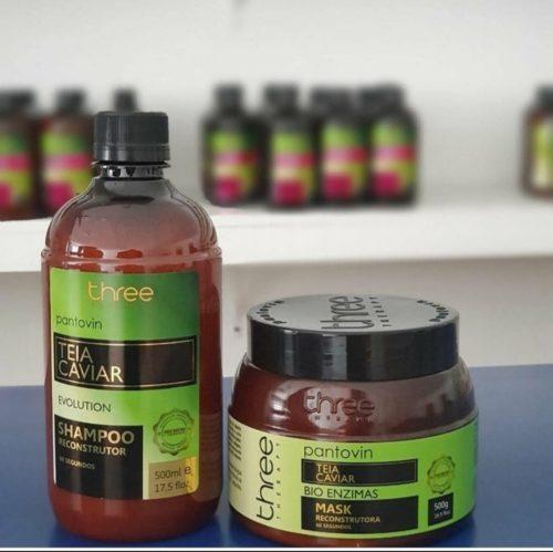 Kit teia caviar 500ml tratamento para cabelos danificados restauração capilar reconstrução capilar