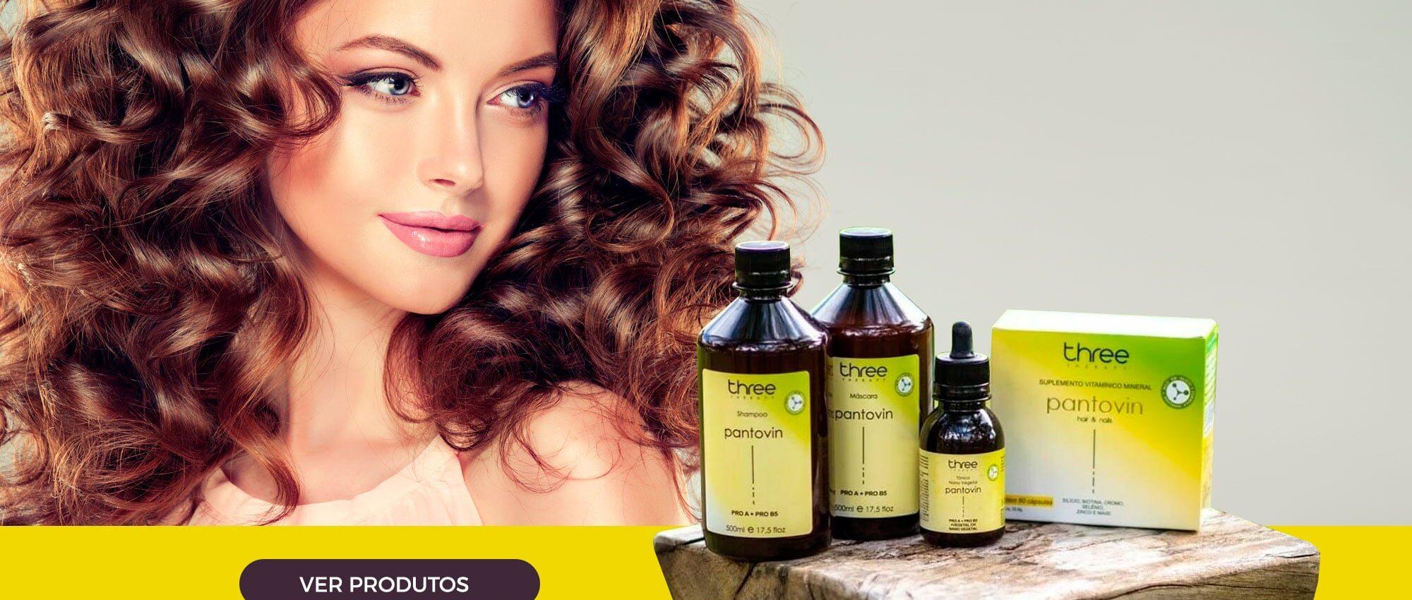 Linha profissional de shampoos e máscaras Pantovin Three Therapy
